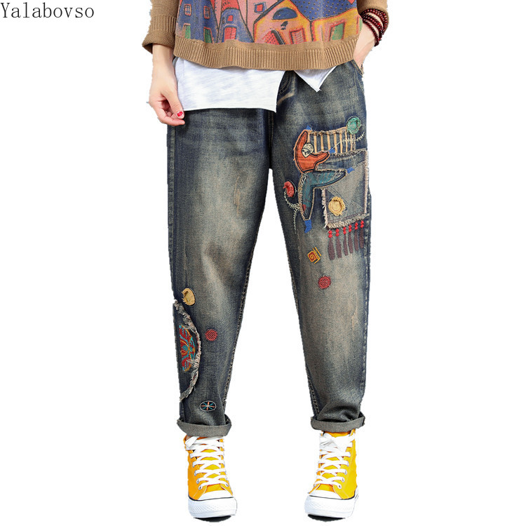 Fall New Retro Denim Cartoon Patches Embroidered High Waist Long Jeans Woman Plus Size Ripped Cowboy For Women A888Z40