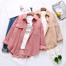 Pink Shirt Vintage Blouse Loose Top Batwing-Sleeve Turn-Down-Collar Button-Up Blusa Corduroy