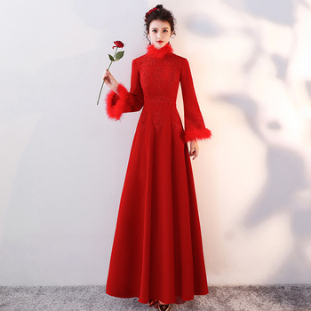 Female Satin Chinese Traditional Cheongsam Burgundy Bride Wedding Party Dress Gown Big Size 3XL Vestidso Sexy Long Qipao