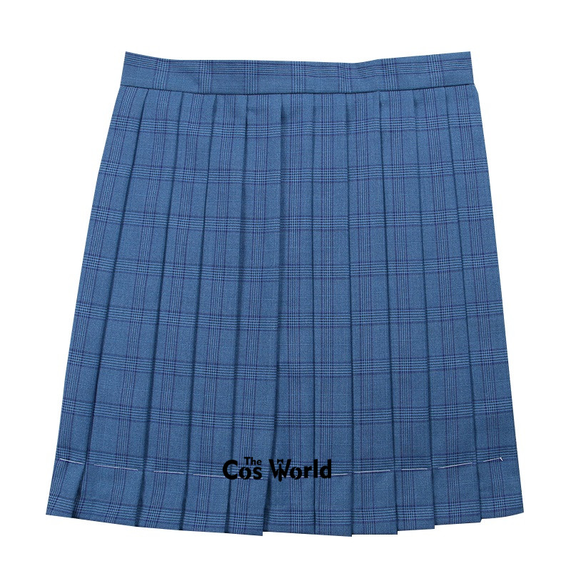 [Blue] Girl's Summer High Waist Pleated Skirts Plaid Skirts Women Dress For JK School Uniform Students Cloths