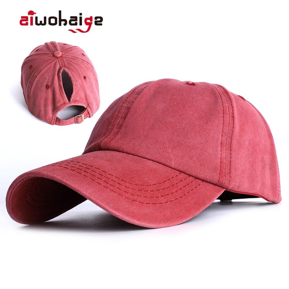 2020 Fashion Ponytail Baseball Cap Messy Bun Hats Women Washed Cotton Snapback Hat Casual Summer Sun Visor Female Outdoor Bone