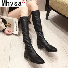 2021 Winter New Women's Boots Fashion Short Plush Mid-calf Boots Outdoor Pu Leather Platform Boots Ladies Mid-calf Boots 35-40