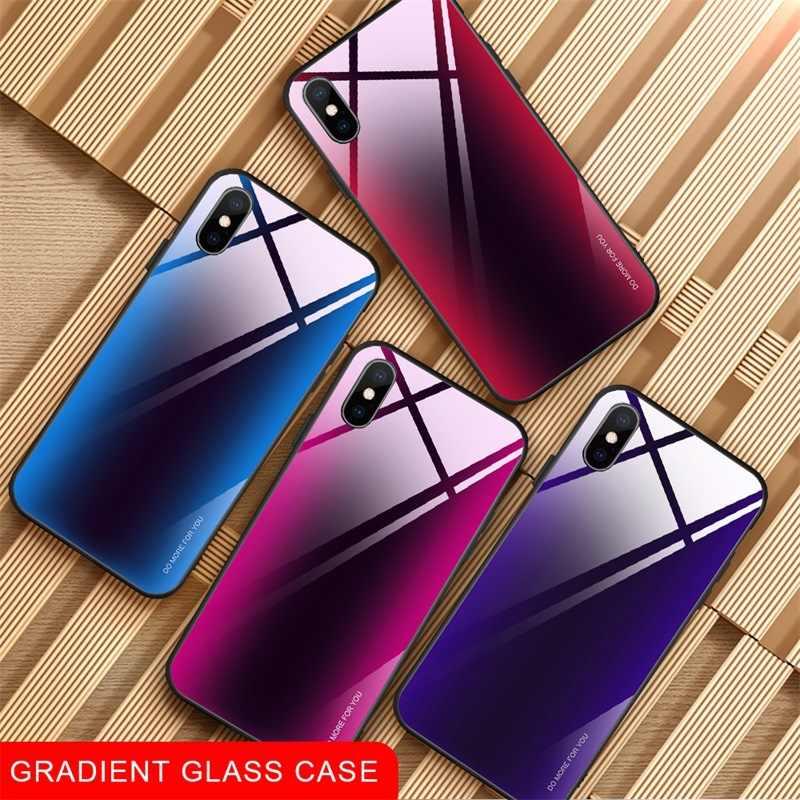 OTAO Gradiënt Gehard Glas Case Voor iPhone XS MAX XR X 8 7 Plus 6 6s Blauw Licht Glas cover Voor iPhone 7 Plus 5 Soft edge Case