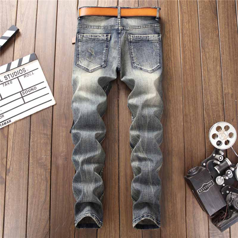 Mcikkny Fashion Men`s Hip Hop Ripped Jeans Pants Multi Zipper Patchwork Denim Trousers For Male Letter Embroidered (4)
