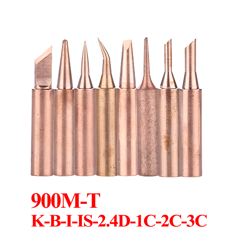 8Pcs/lot 900M-T Pure Copper Soldering Tip 900M-T-I 900M-T-K Solder Iron Tip Soldering Accessories