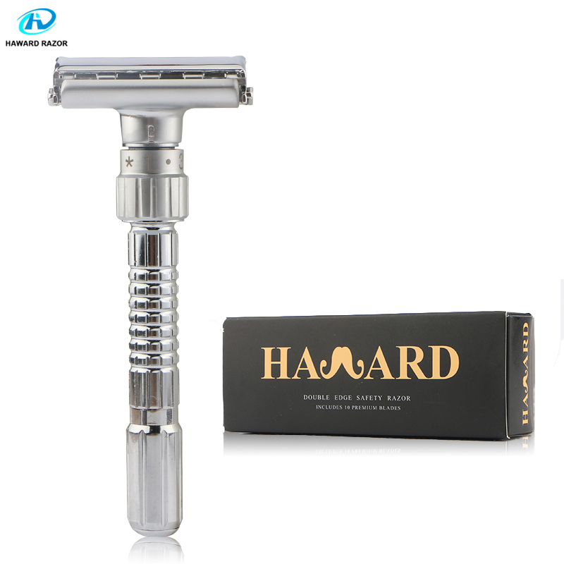 HAWARD Adjustable Shaving Razor Men's Double Edge Safety Razor Classic Manual Butterfly Shaver Used For Hair Removal (10 Blades)