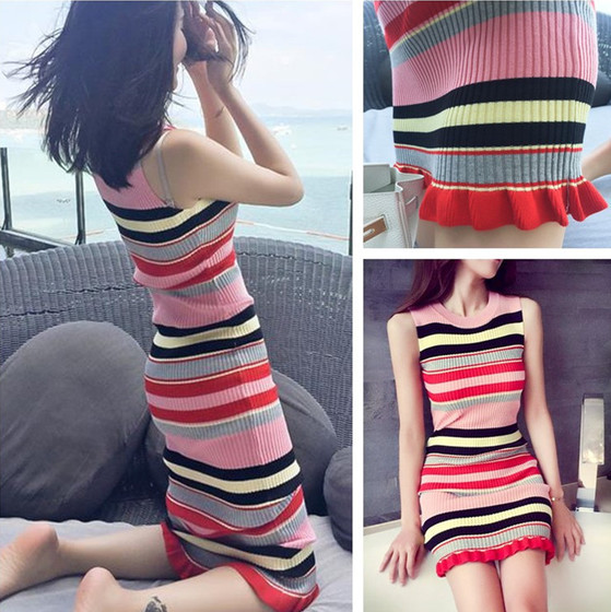 2018 Spring And Summer New Style Korean-style Slim Fit Sleeveless Render Vest Dress Knitted Yarn Skirt