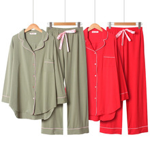 2020 Spring And Autumn New Women Solid Color Simple Style Pajamas Set Ladies Comfort Cotton Large Size Loose Homewear For Femme