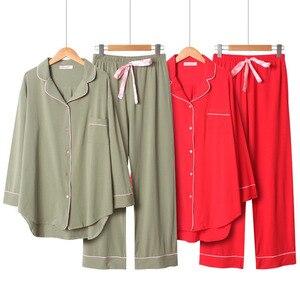 Image 1 - 2020 frühling Und Herbst Neue Frauen Einfarbig Einfache Stil Pyjamas Set Damen Komfort Baumwolle Große Größe Lose Homewear Für femme