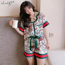 Women Pajamas Sleepwear Set Summer Short Sleeve  Pijamas Nightwear Two Pieces Silk Satin Printing Pyjamas Suit