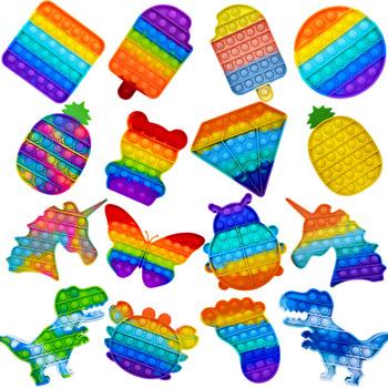 Fidget reliever stres zabawki Rainbow Push It Bubble zabawki antystresowe proste dołek zabawka sensoryczna aby złagodzić autyzm darmowa wysyłka tanie i dobre opinie CN (pochodzenie) 7-12y 12 + y GSDF496 Certyfikat europejski (CE) Zwierzęta i Natura Zawody Reliver Stress Toys Push Bubble Fidget TOYs