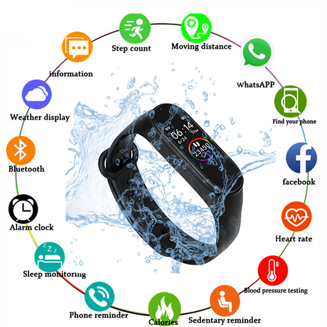 M4 New Smart Watch Men Women Heart Rate Monitor Blood Pressure Fitness Tracker Smartwatch Sport Watch for ios android +BOX
