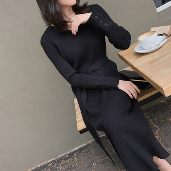 Korean Fashion Sweater Dress Women Knitted Sweaters Dresses Elegant Women High Waist Sweater Dress Plus Size Vestidos De Fiesta 4