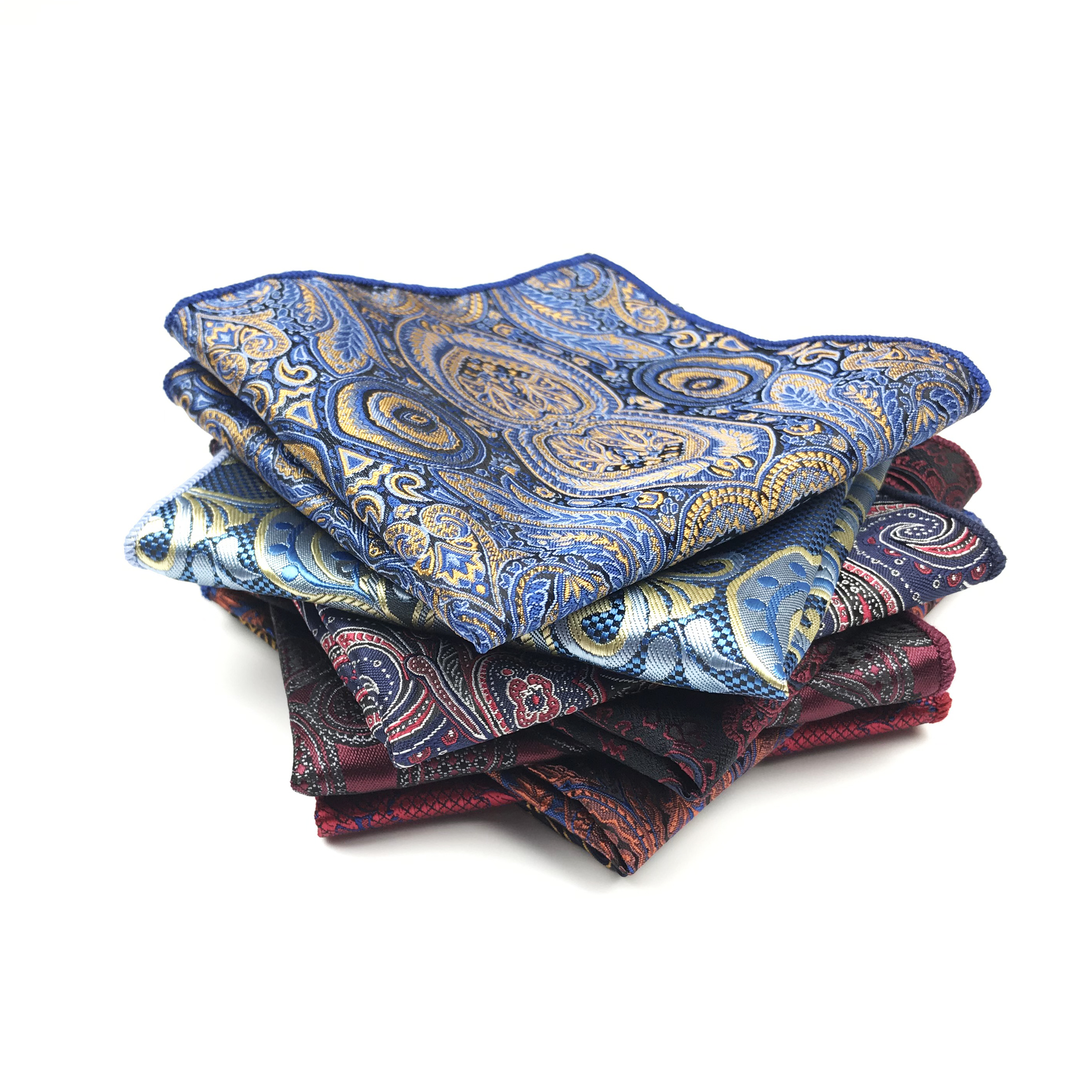 100% Polyester Paisley Woven Mens Handkerchief Wedding Business Pocket Squares For Men Matching Necktie Bowtie Available