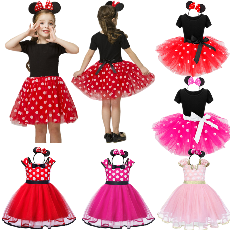 Baby Girls Birthday Party Tutu Princess Costume Toddler Kids Polka Dot Dress with Headband Outfits Children Vestidos 1