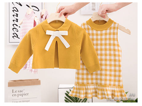 2020 Baby Girl Fashion Clothing Set Cute Bow Sweaters+plaid Dress,girls Infant Elegant Clothes Sets Children Party Birthday Wear 9