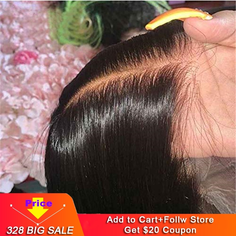 Fake Scalp Cap 13X6 Lace Front Human Hair Wigs Pre Plucked HD Transparent Lace Silky Straight Remy Brazilian Glueless 150% D
