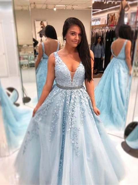 Elegant Bbay Blue Long   Prom     Dresses   2019 High Quality Floor Length A Line Lace Appliqued Girls Graduation   Dress   Custom Made