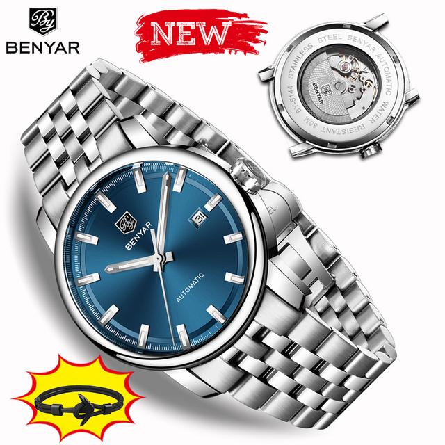2019 New BENYAR men automatic mechanical watches men watches Top brand luxury mens watch military wristwatch Relogio Masculino