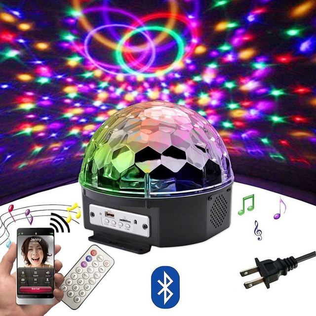 9 Color RGB LED Disco Ball Light with Bluetooth MP3 Music Player for Home Party DJ Dance Floor Strobe Stage Laser Projector Lamp