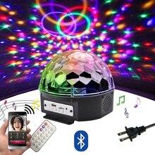 Lumière boule Disco RGB LED 9 couleurs, avec Bluetooth, lecteur de musique MP3 à la maison fête DJ sol de danse, lampe de projecteur Laser stroboscopique