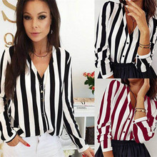 New Design Long Sleeve Chiffon Blouses Woman 2019 Front Open Buttons Spliced Stripe Shirt new dew shoulder design clothes the horn sleeve beautiful stripe girls blouses