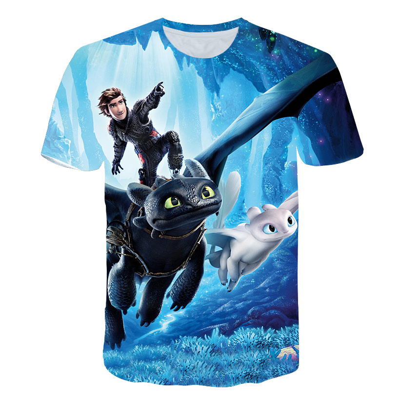 New Casual Breathable T-shirt Short Sleeve Men Tops Tee Fashion Men Latest 3D Printed How To Train Your Dragon Printing T-shirt