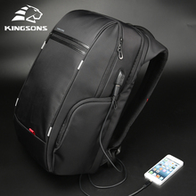 "Kingsons 15""17""  Laptop Backpack External USB Charge Computer Backpacks Anti theft Waterproof Bags for Men Women"