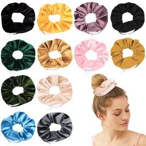 Image 5 - Бархатные резинки для волос, Женская эластичная резинка для волос на молнии, велюровая повязка для волос для девушек, держатель для конского хвоста, резинки для волос, сумка 0925
