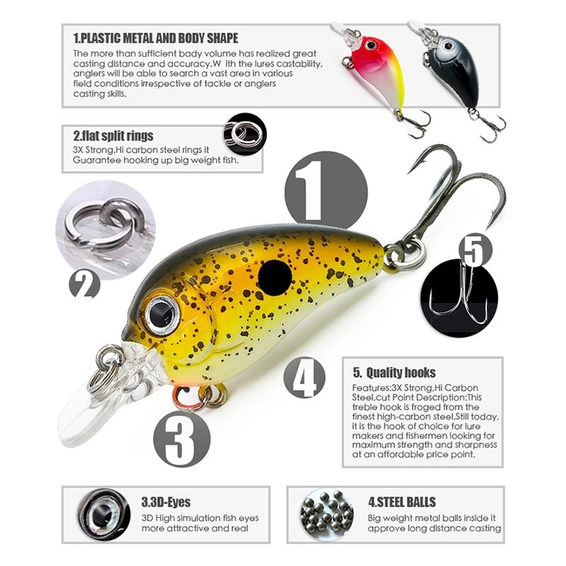 3g Hard Crankbait Lure Minnow Carp Fishing Slow Sinking 45mm with 2 Tackle Hooks