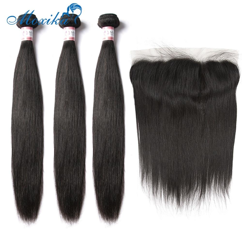 Moxika-mechones de pelo liso peruano con cierre, pelo humano, 3 mechones, mechones de pelo liso Frontal, 13x4, Remy Frontal