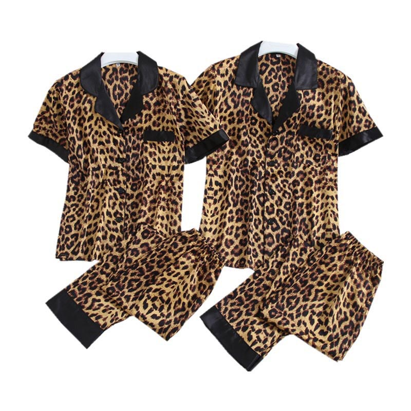 Summer Spring Couples Pajama Set Sexy Leopard Print Sleepwear Turn-down Collar Thin Silk Satin Homewear For Lovers Men And Women