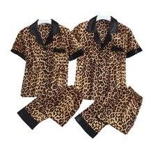 여름 봄 커플 잠옷 세트 섹시한 표범 인쇄 잠옷 턴 다운 칼라 얇은 실크 새틴 homewear 연인 남성과 여성을위한