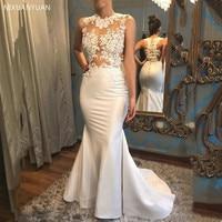 2020 Sexy Mermaid Wedding Dresses Lace Appliques Trumpet Satin Bridal Gown Wedding Gown Court Train Vestido De Noiva