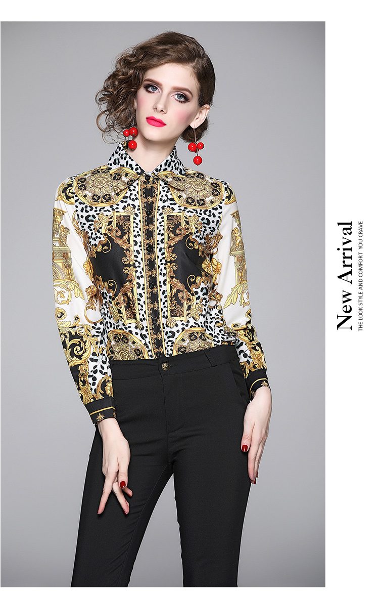 Elegant Leopard Print Women Blouse Shirt 3