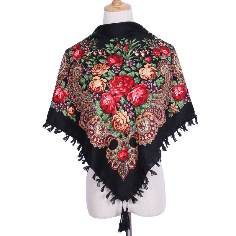 Autumn And Winter Cotton Russian National Style Scarf Printed Scarf Women's New Square Multifunctional Fringed Shawl