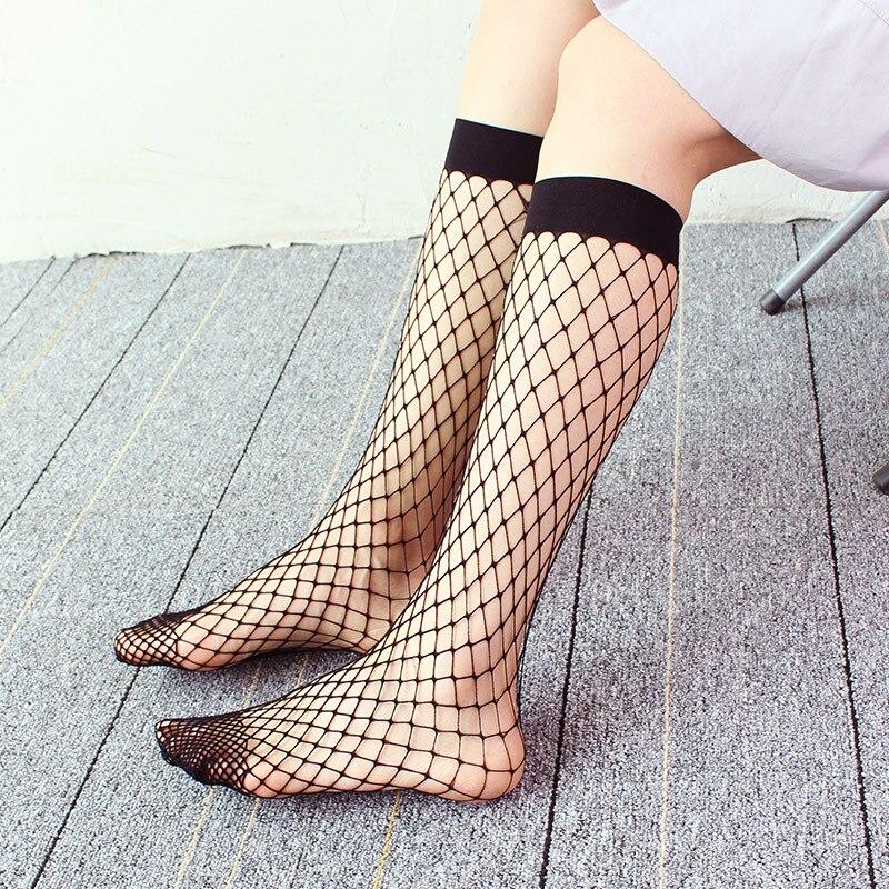 Fishnet Socks Women Mesh Lace Fish Net Sexy Ladies Short Glitzy Transparent Woman Summer Ankle High Socks Black Streetwear