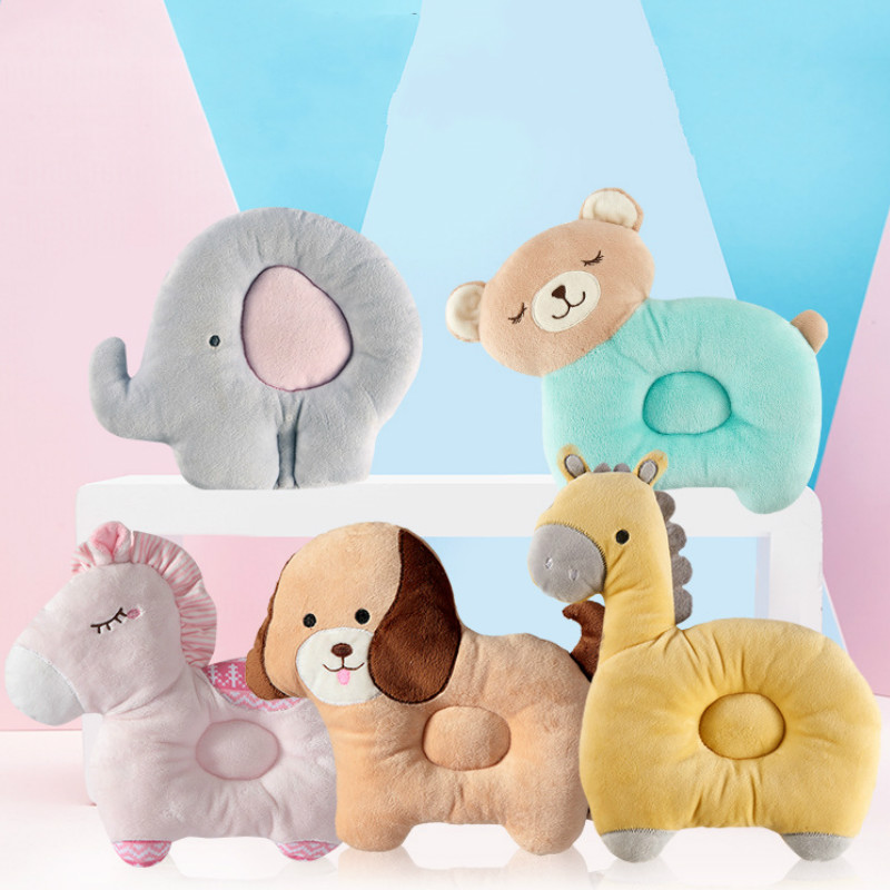 Baby Pillow Bedding Supplies Cartoon Cute Cotton Head Shaper Pillow Breathable Washable Bite Animal Cute Shaping Pillow