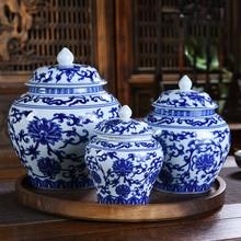 Creative Blue and White Porcelain Universal Jar With Lid Candy Dried Fruit Sealed Storage Jar Small Large Tea Storage Jar Jar