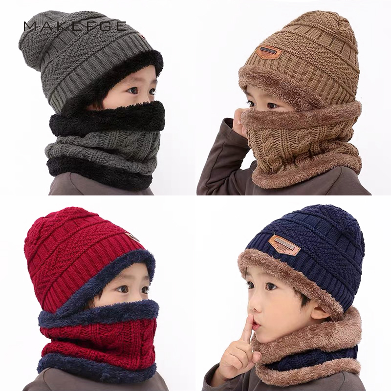 Fashion Boy/Girl Arrow Hat Warm Suit Outdoor Peas Knit Hat Ski Children Mask Headwear Scarf 2 Piece Set Cute Baby Bonnet Bib