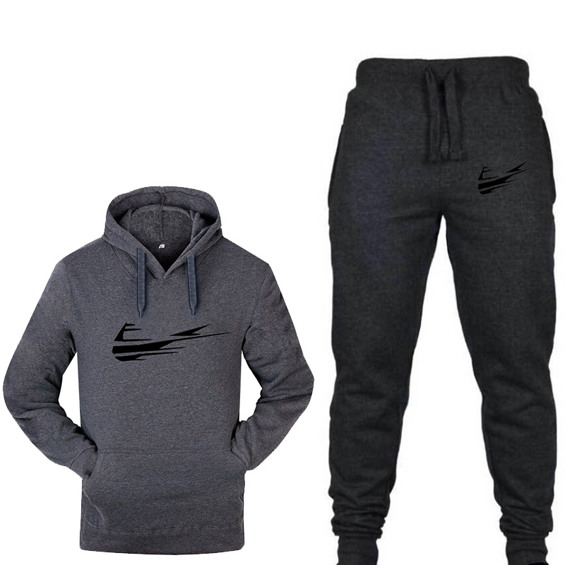 2019 New Fashion Sportswear Warm Printing Men's Sports Suit Fleece Hoodie Running Fitness Sports Jogging Sports Pants Two Sets