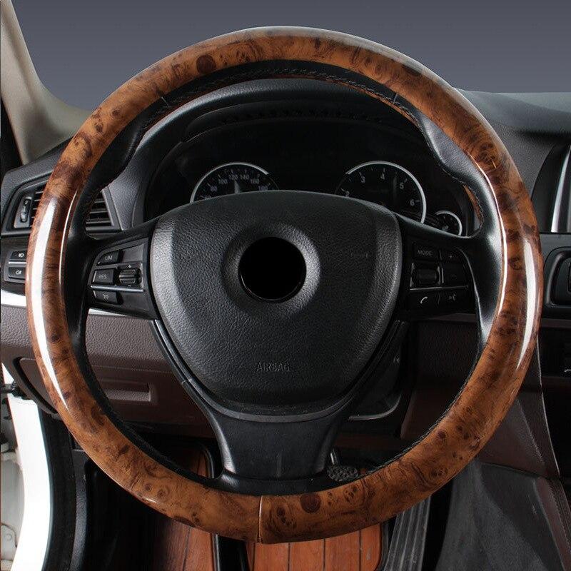 Чехол рулевого колеса автомобиля деревянная зернистая кожа Удобная дышащая оплетка рулевого колеса автомобиля Стайлинг Аксессуары для большинства транспортных средств - Название цвета: All Wood 38cm