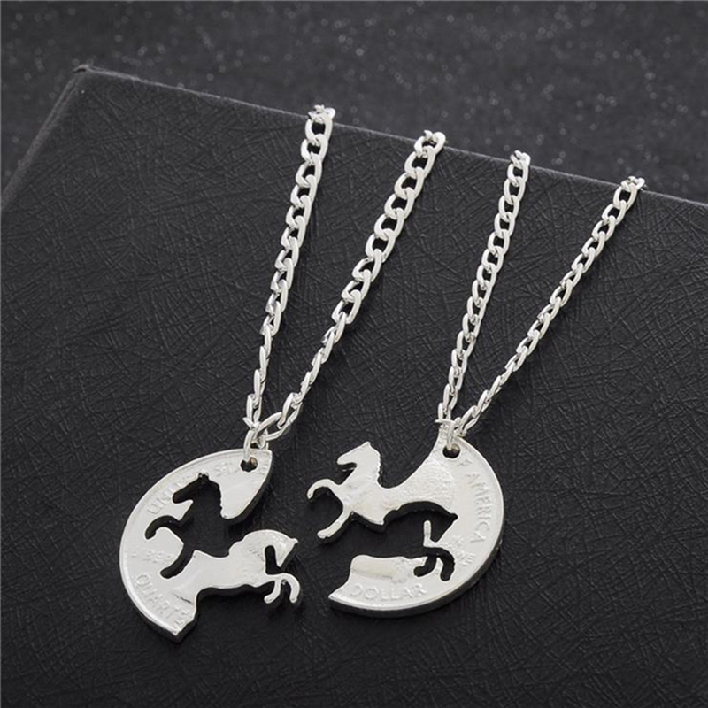 2pcs/Set Silver Coin Two Horses Necklace Best Friend Gifts Pendant Charm Lover Couples Necklace Women Men Jewelry image