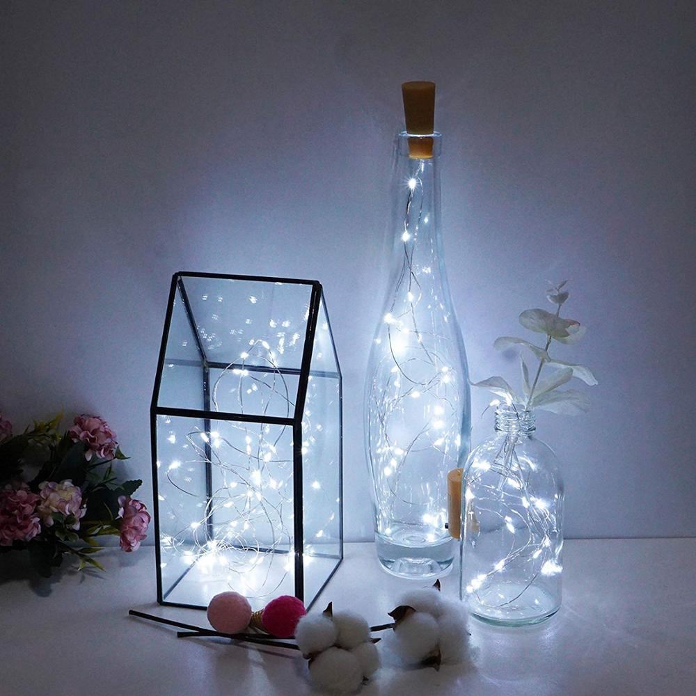 Copper Wire LED String Lights Wine Bottle Lights Holiday Lighting Fairy Garland For Christmas Tree Wedding Party Decoration
