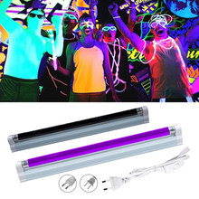 Lâmpada ultravioleta uv preto luz azul quartzo lâmpada t5 tubo 220v 110v 6w 8w blacklight uva fluorescente festa cosméticos dinheiro detectar