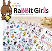 6 sztuk/partia Korea królik dziewczyny serii naklejki pcv zestaw DIY wielofunkcyjne naklejki dekoracji
