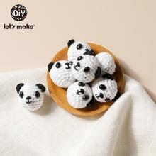 Let's Make 5pc Wooden Beads Crochet Panda Crochet Beads Decoration Wooden Teething Crochet Beads