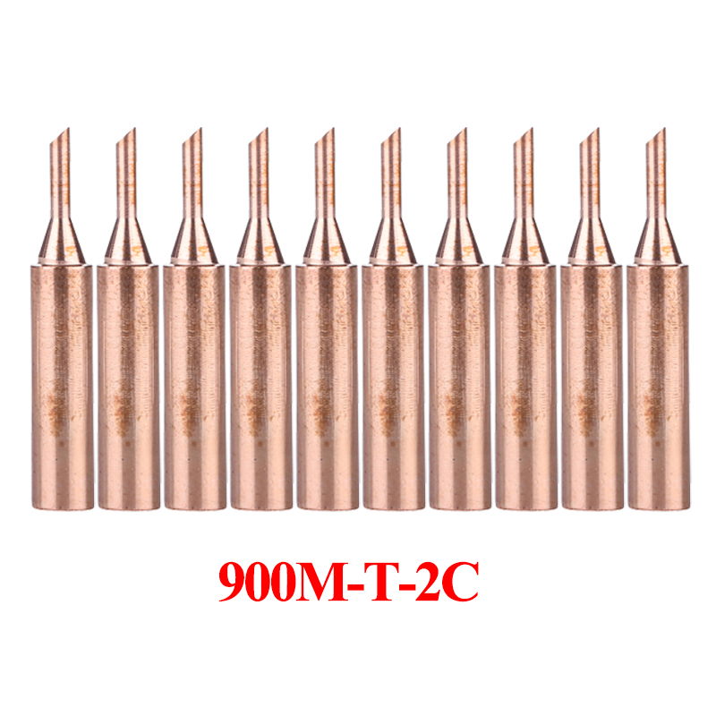 10Pcs/lot 900M-T-2C Pure Copper Soldering Iron Tip Lead-free Welding Sting For 936/937/938/969/8586/852D Soldering Station