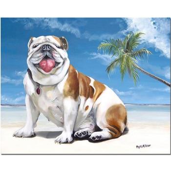 Bahasa Inggris Bulldog Lukisan Berlian Persegi Anak Anjing Lucu Mosaik Berlian Gambar Diamond Bordir Dijual Hewan Anjing Pantai Dinding Seni