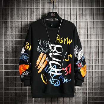 New Mens Sweatshirt Casual Hoodies 2021 Spring Graffiti Oversized Japanese Hip Hop Streetwear Men Loose Sweatshirts Pullover Top 1